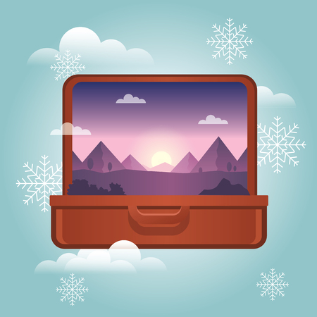 Summer vacation in winter. Planning winter holidays. Open suitcase with a mountains inside. Traveling and tourism. Vector illustation Ilustrace