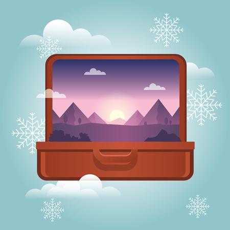 Vacances d'été en hiver. Planification des vacances d'hiver. Valise ouverte avec une montagne à l'intérieur. Voyager et tourisme. Illustration vectorielle Banque d'images - 91291834