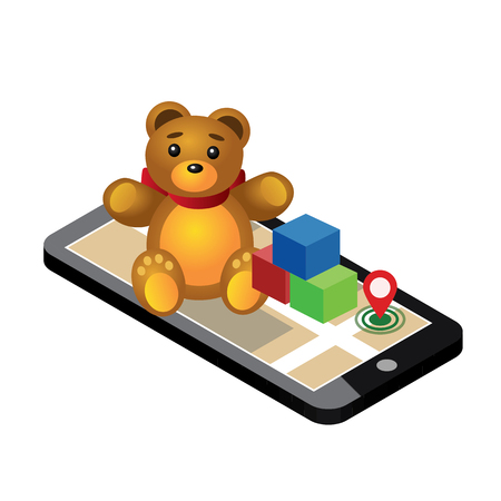 Isometrische online e-commerce speelgoedwinkel. Op zoek naar cadeau. Levering aan huis. Leuke teddybeer en kleurrijke kubussen op mobiele telefoon, Vectorillustratie