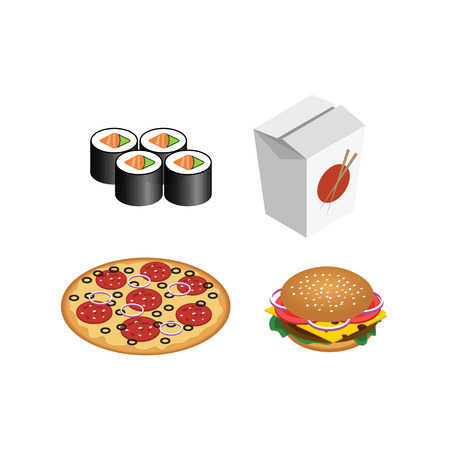Ensemble réaliste de restauration rapide. Burger isolé, pizza, sushi, petits pains. Illustration pour le menu de restauration rapide design Banque d'images - 91518299