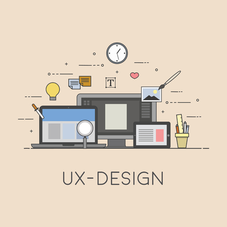 Web and mobile design. UX-design. Process of design. Flat design