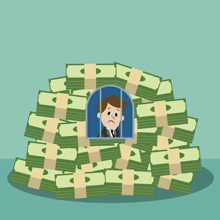 Geschäftsmann oder Manager wurde ein Gefangener und Geisel seines Geldes. Geldgrund Standard-Bild - 91532376