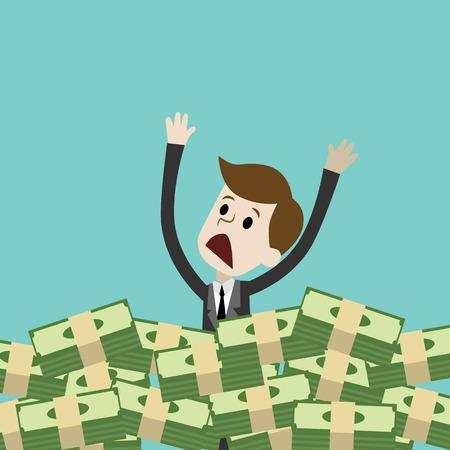 Geschäftsmann oder Manager ertrinken in seinem Geld. Geld absorbiert ihn. Gier Standard-Bild - 91502797