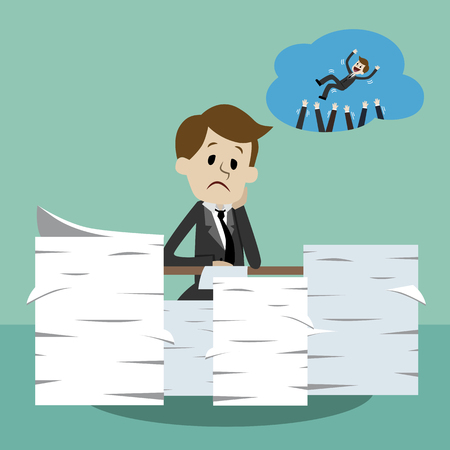 Businessman working and dreaming about wins. Office worker in stress dreaming about success in business. Ilustração