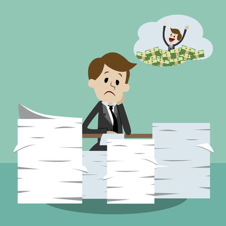 Business man working and dreaming about money. Office worker in stress dreaming profit. Illustration