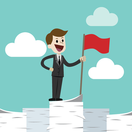 Business man standing on a huge tower stack of papers and handing red flag. Job is finished successfull Ilustração