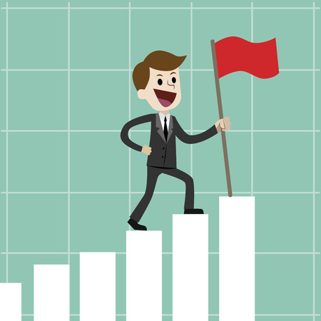 Businessman or manager going up on the growing chart with a flag. Successfull business or trading. Vector illustration
