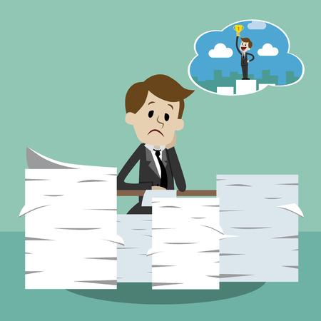 ビジネスマンは成功を夢見て働いています。ストレスでサラリーマンは利益を夢見る。