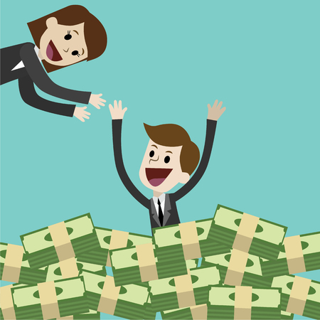 Businessman and manager. Moneymaking. Cartoon Vector Illustration