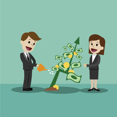 Businessman looking for growth chart ,money and pointing finger to raise the graph get a lot of money. Chart growth and success concept. Cartoon Vector Illustration. Illustration