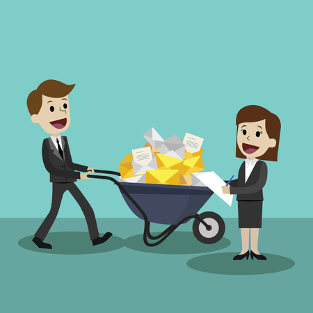 Businessman or manager finding himself going to be busy and colleague helps him. Team work. Partnership