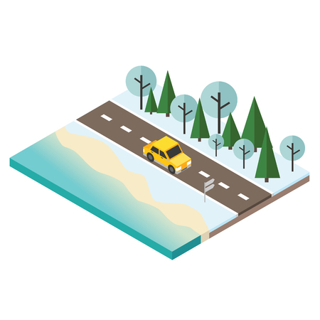 Isometric snow winter day. Car travaler on the road near the beach and forest. Christmas and New Year holidays Stock Photo