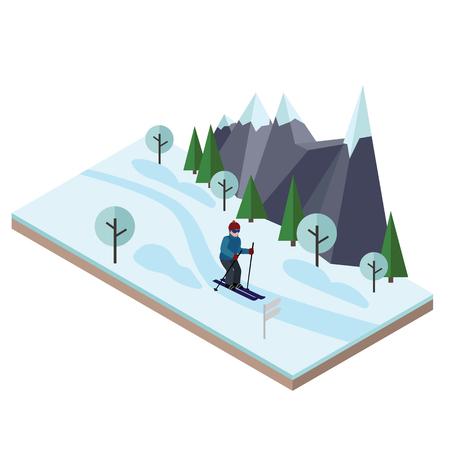 Isometrische man skiën. Langlaufen, wintersport. Olympische spelen, recreatie levensstijl, activiteit snelheid extreem. Stock Illustratie