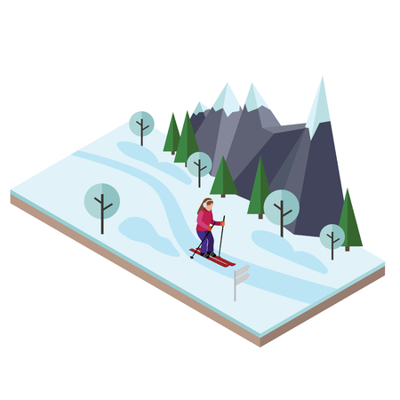 Isometric woman skiing. Cross country skiing, winter sport. Olympic games, recreation lifestyle, activity speed extreme.