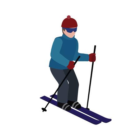 Isometric isolated man skiing.
