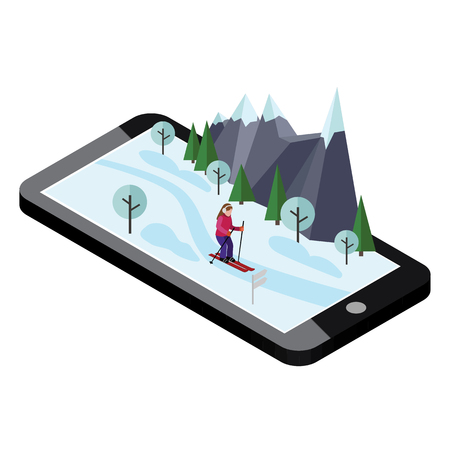 Isometric woman skiing. Mobile navigation. Videos and photos kept in phone memory. Cross country skiing, winter sport. Olympic games, recreation lifestyle, activity speed extreme
