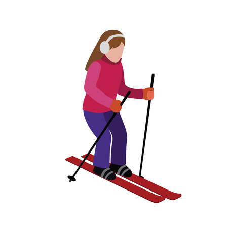 Isometric isolated woman skiing. Cross country skiing, winter sport. Olympic games, recreation lifestyle, activity speed extreme.