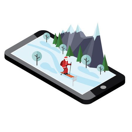 Isometric Santa Claus skiing. Santa Cross country mobile navigation helps Santa to deliver gifts. Christmas and New Year is coming. Cross country skiing, winter sport. Ilustrace