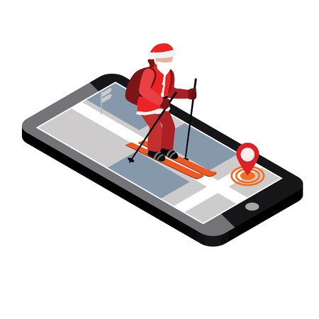 Isometric Santa Claus skiing. Santa City mobile navigation helps Santa to deliver gifts. Christmas and New Year is coming. Cross country skiing, winter sport. Illustration