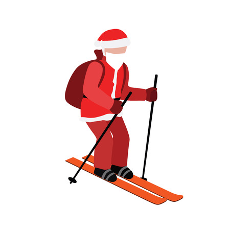 Isometric isolated Santa Claus skiing. Christmas and New Year is coming. Santa pull gifts. Cross country skiing, winter sport. Illustration