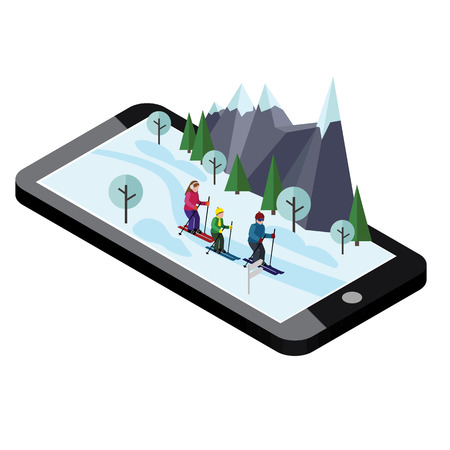 Isometric happy family skiing. Mobile navigation. Videos and photos kept in phone memory. Cross country skiing, winter sport. Olympic games, recreation lifestyle, activity speed extreme.