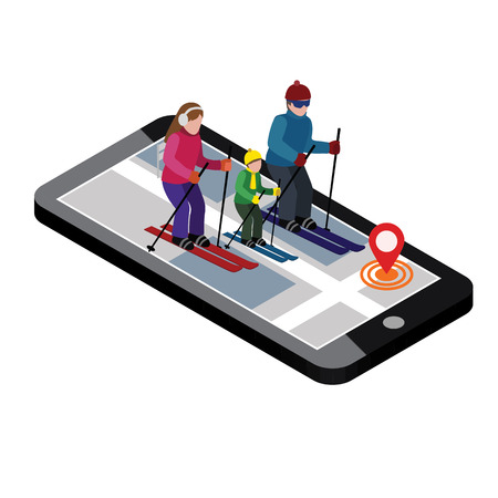 Isometric happy family skiing. Searching for cross country skiing in city. Winter sport. Mobile navigation. Olympic games, recreation lifestyle, activity speed extreme.