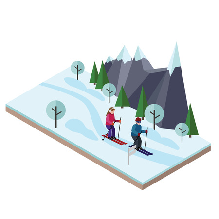 Isometric man and woman skiing. Happy couple loves skiing. Cross country skiing, winter sport. Olympic games, recreation lifestyle, activity speed extreme Ilustrace