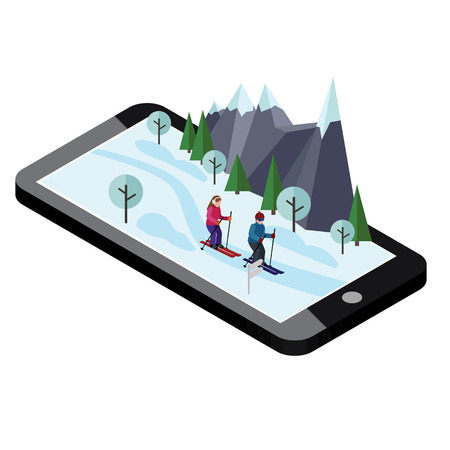 Isometric man and woman skiing. Mobile navigation. Happy couple loves skiing. Videos and photos kept in phone memory. Cross country skiing, winter sport. Olympic games, recreation lifestyle extreme.