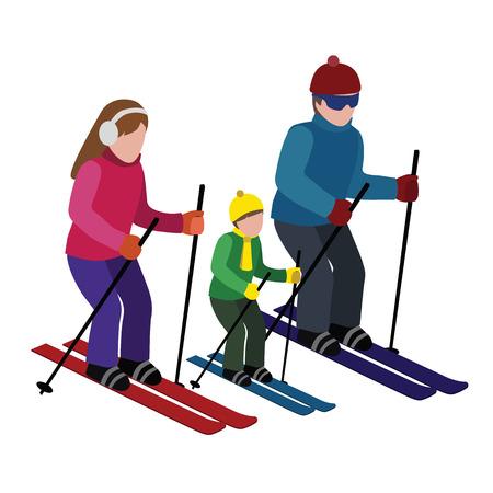 아이소 메트릭 절연 행복 한 가족 스키입니다. 크로스 컨트리 스키, 겨울 스포츠. 올림픽 게임, 레크리에이션 라이프 스타일, 활동 속도 극한
