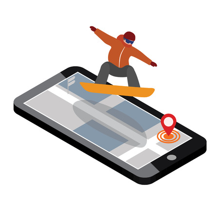 Isometric vector man has boarding in city. Urban style and hot tricks in park. Videos and photos keeped in phone memory. Snowboarding, winter sport. Olimpic games, activity speed extreme Illustration