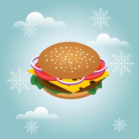 Flat 3d vector isometric illustration. Hamburger Concept picture