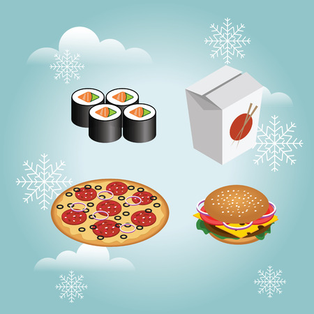 Fast food realistic set. Isolated burger, pizza, sushi, rolls. Fast food in snow winter. Christmas or New Year fast food dinner. Illustration for design fast food menu. Stock Illustratie