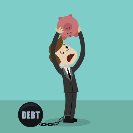 Businessman or manager is shaking out empty piggy bank because he has debt. Loosing investment and
