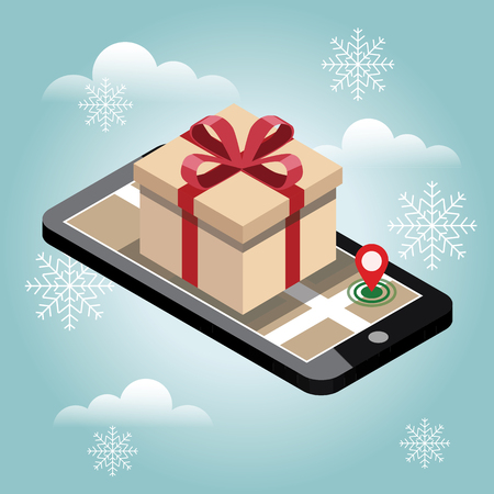 Christmas and New Year shopping. Searching for gifts in winter. Online shopping and e-commerce concept Vector Illustration