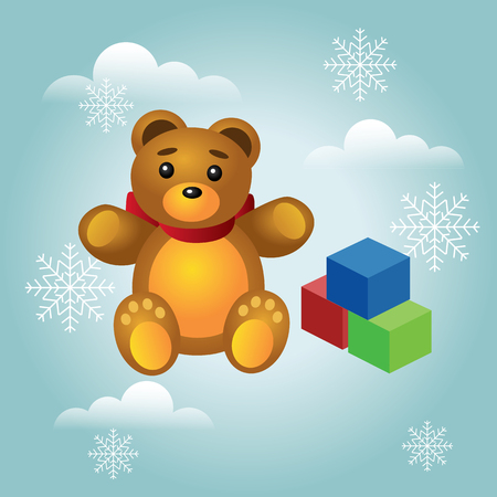 Isometric Christmas and New Year childish gifts and toys. Cute teddy bear and colorful cubes isolated on white background. Vector illustration  イラスト・ベクター素材