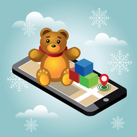 Isometric online e-commerce toy shop. Searching Christmas and New Year childish gifts and toys. Home delivery. Cute teddy bear and colorful cubes on mobile phone, Vector illustration Illustration