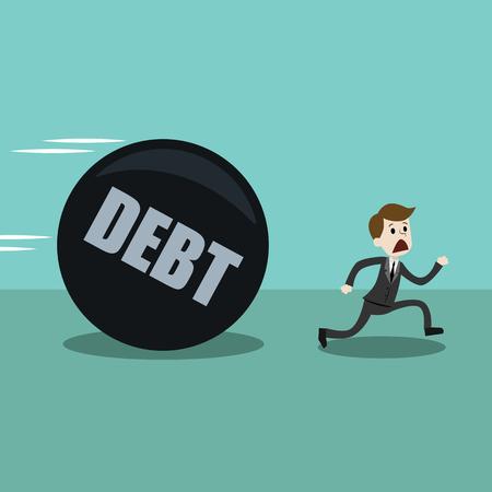 사업가 나 관리자가 큰 부채에서 벗어나 도망 간다.