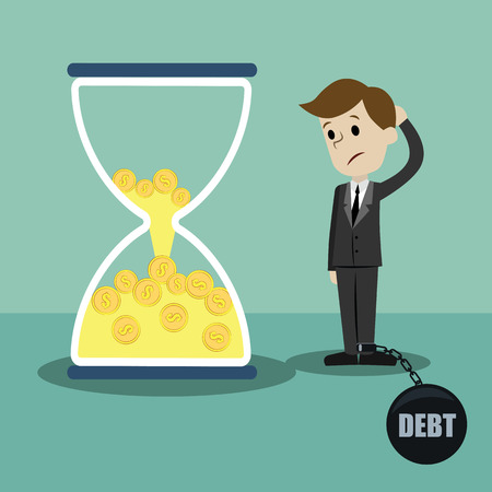 Time is money. Money in sandglass. Businessman lose his money losing time and dont know how to close a debt