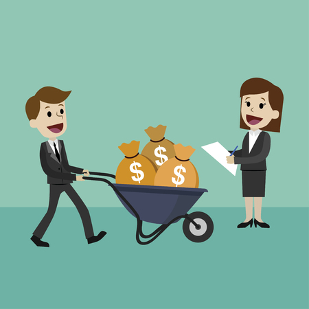 Happy businessman or manager goes with a wheelbarrow full of cash. Businesswoman helps her colleague