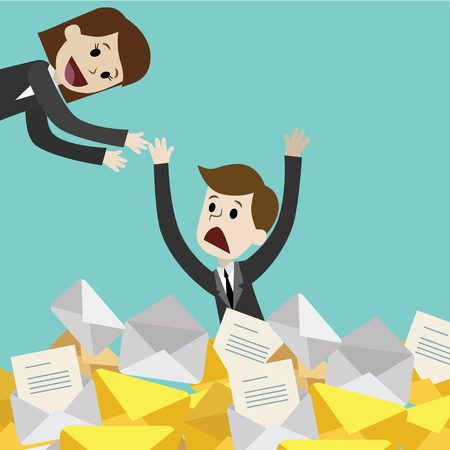 Businessman or manager has a lot of emails. Businesswoman helps her colleague Illustration