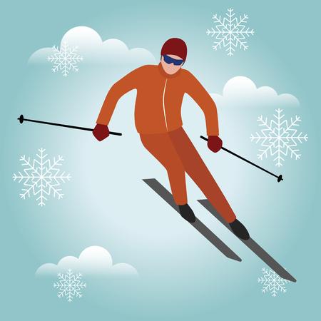 Homme de ski isométrique isolé vecteur Style urbain et astuces dans le parc. Snowboard, sport d'hiver. Jeux olympiques, mode de vie récréatif, vitesse extrême Banque d'images - 94438567
