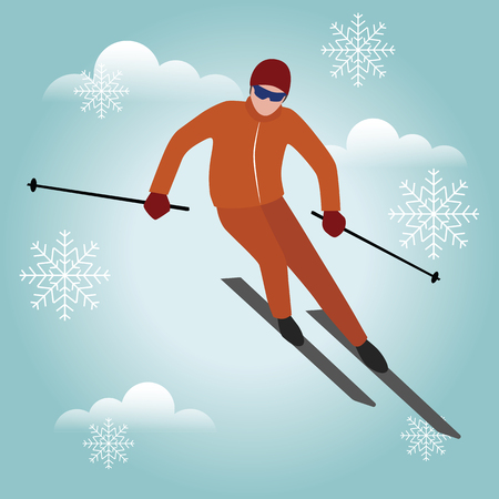 Isometric isolated vector man skiier. Urban style and hot tricks in park. Snowboarding, winter sport. Olimpic games, recreation lifestyle, activity speed extreme Ilustração