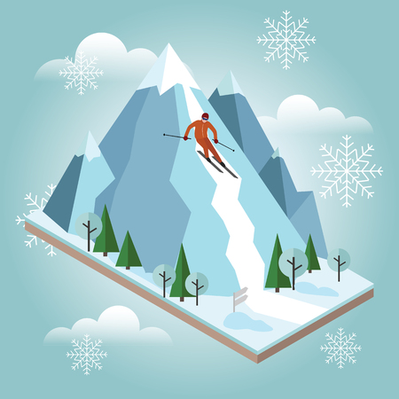 Isometric vector man pulls off the mountain. Alpine skiing, winter sport. Olimpic games, recreation lifestyle, activity speed extreme