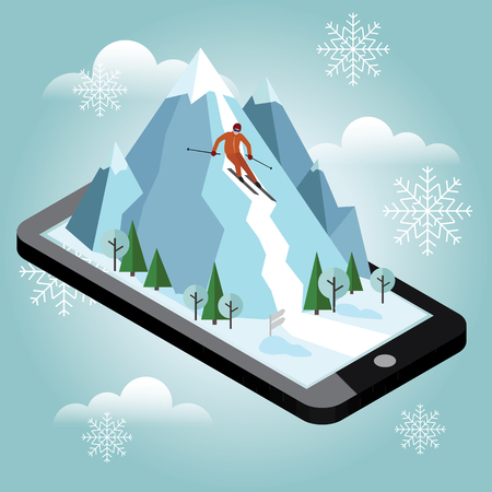 Isometric vector man pulls off the mountain. Alpine skiing, winter sport. Mobile navigation. Videos and photos keeped in phone memory. Olimpic games, recreation lifestyle, activity speed extreme Illustration