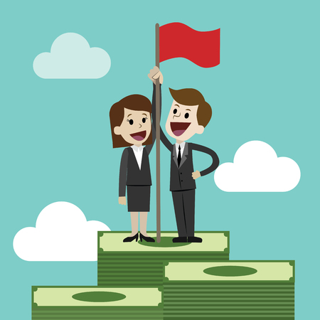 Flat style vector illustration of two business person on top a graph with a flag clip art.