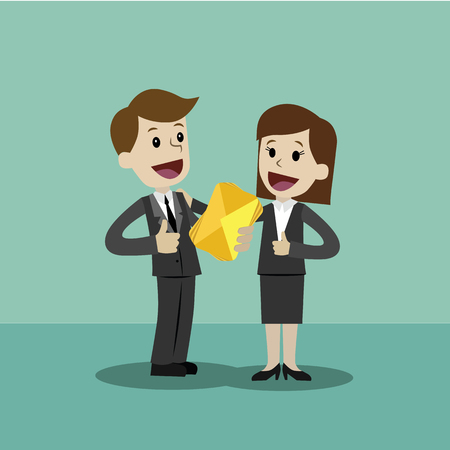 Flat style vector illustration of two business person holding a golden envelope on a happy face.