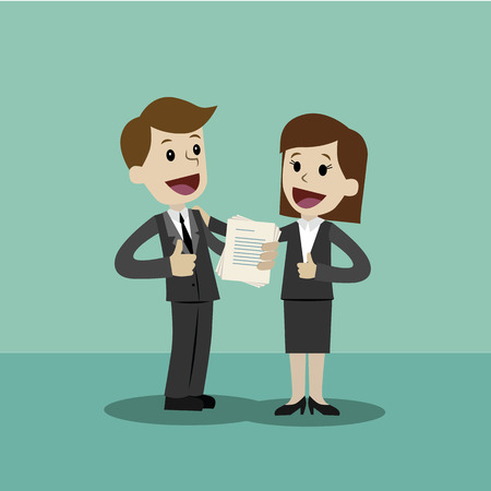 Flat style vector illustration of two business person holding a document on a happy face.