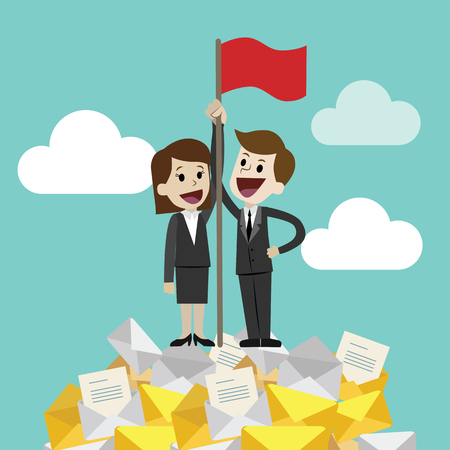 Flat style vector illustration of two business person holding a red flag on a happy face. Illustration