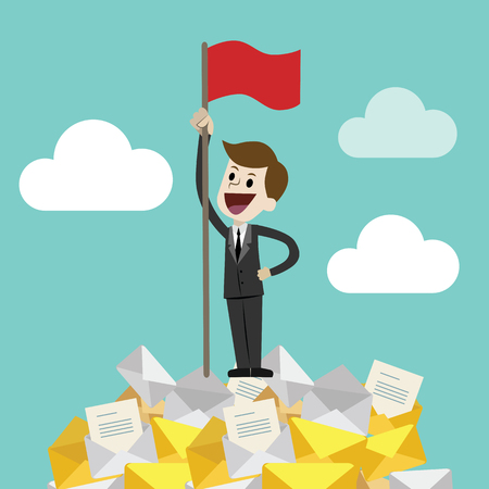 Flat style vector illustration of a business person holding a red flag  on a happy face.