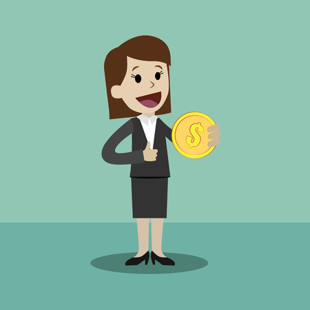 Flat style vector illustration of a business person holding a coin on a happy face.